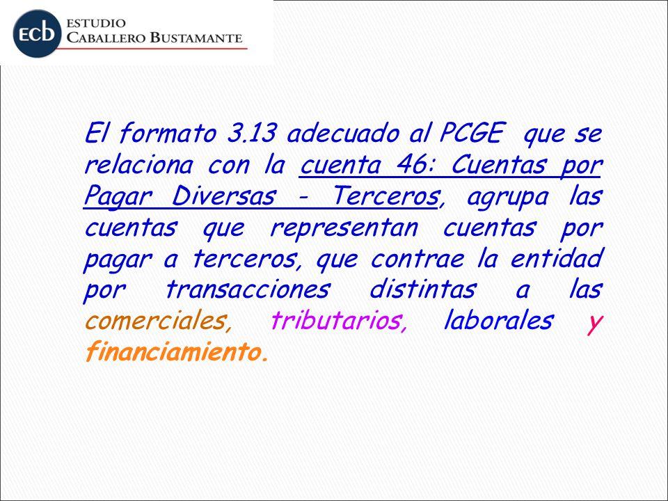 El formato 3.13 adecuado al PCGE que se relaciona con la cuenta 46: Cuentas por Pagar Diversas - Terceros, agrupa las cuentas que representan cuentas