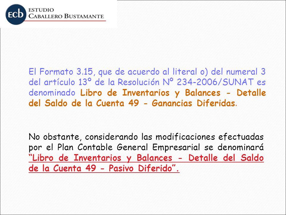 El Formato 3.15, que de acuerdo al literal o) del numeral 3 del artículo 13º de la Resolución Nº 234-2006/SUNAT es denominado Libro de Inventarios y B