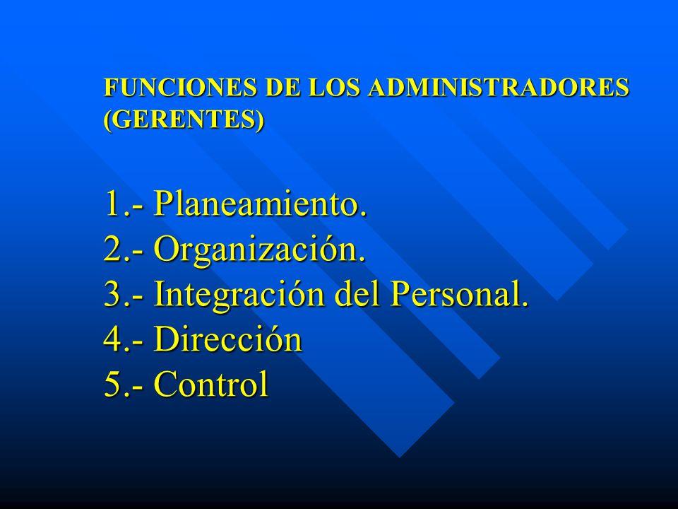 FUNCIONES DE LOS ADMINISTRADORES (GERENTES) 1.- Planeamiento. 2.- Organización. 3.- Integración del Personal. 4.- Dirección 5.- Control
