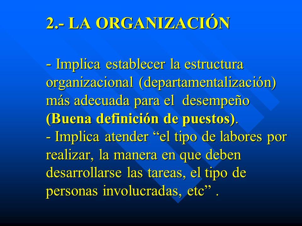 2.- LA ORGANIZACIÓN - Implica establecer la estructura organizacional (departamentalización) más adecuada para el desempeño (Buena definición de puest