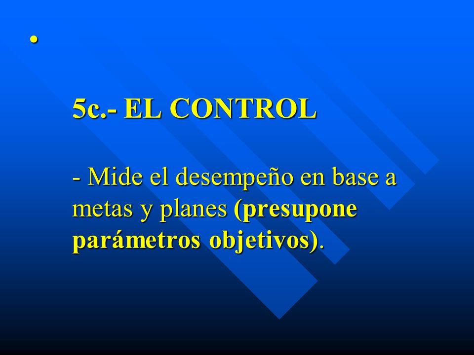 5c.- EL CONTROL - Mide el desempeño en base a metas y planes (presupone parámetros objetivos). 5c.- EL CONTROL - Mide el desempeño en base a metas y p