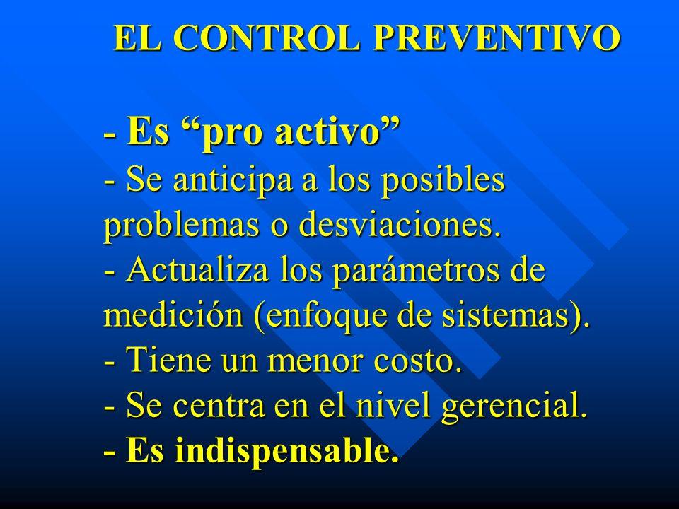 EL CONTROL PREVENTIVO - Es pro activo - Se anticipa a los posibles problemas o desviaciones. - Actualiza los parámetros de medición (enfoque de sistem