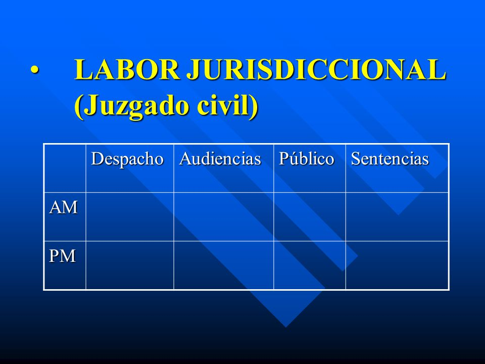 LABOR JURISDICCIONAL (Juzgado civil)LABOR JURISDICCIONAL (Juzgado civil) DespachoAudienciasPúblicoSentencias AM PM
