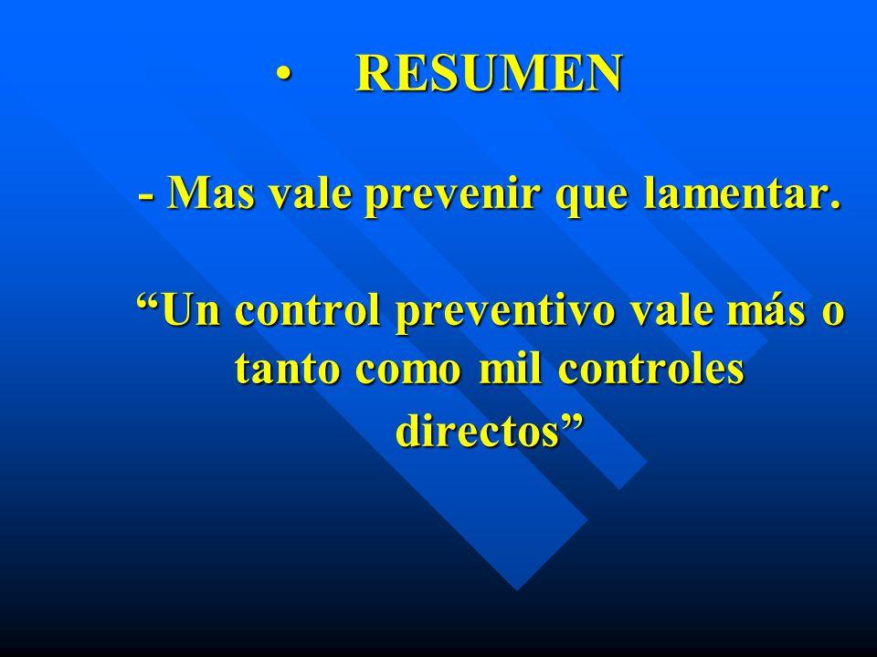 RESUMEN - Mas vale prevenir que lamentar. Un control preventivo vale más o tanto como mil controles directosRESUMEN - Mas vale prevenir que lamentar.