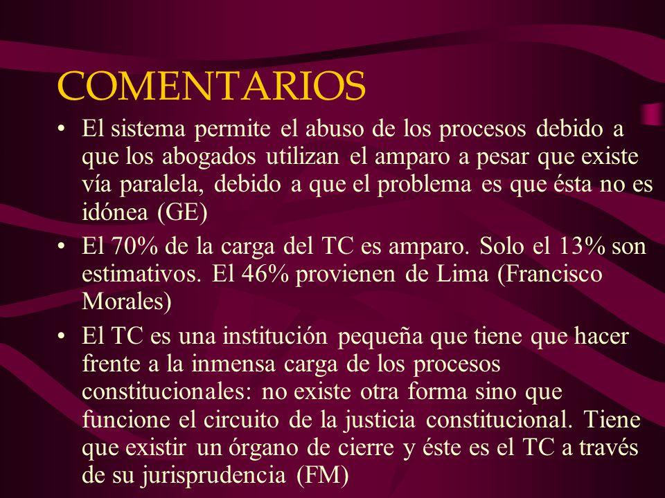 COMENTARIOS El sistema permite el abuso de los procesos debido a que los abogados utilizan el amparo a pesar que existe vía paralela, debido a que el problema es que ésta no es idónea (GE) El 70% de la carga del TC es amparo.