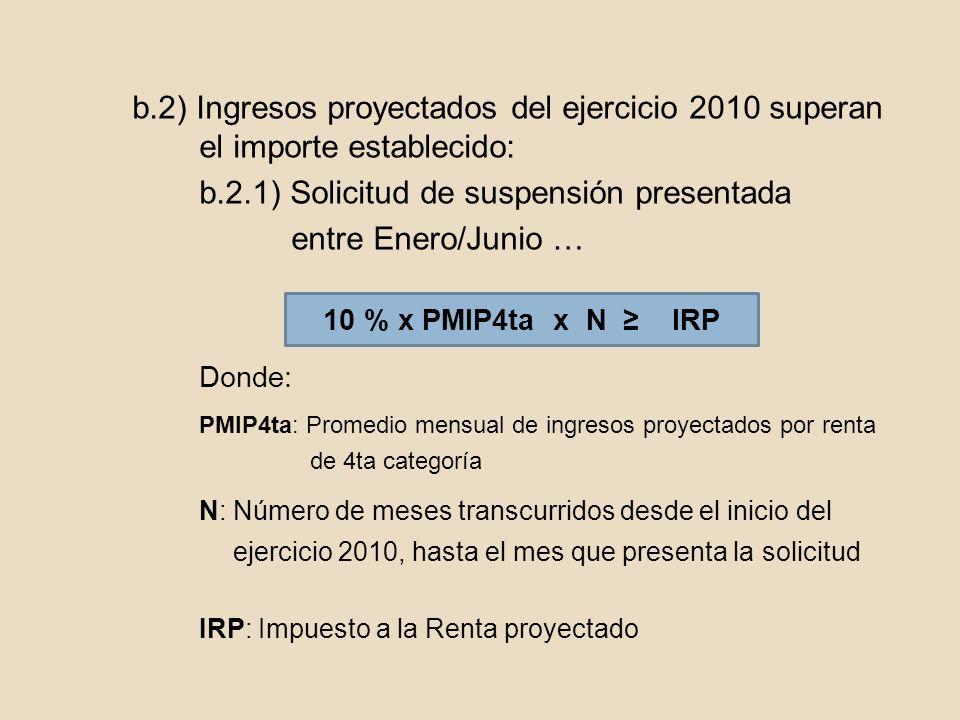 b.2) Ingresos proyectados del ejercicio 2010 superan el importe establecido: b.2.1) Solicitud de suspensión presentada entre Enero/Junio … Donde: PMIP