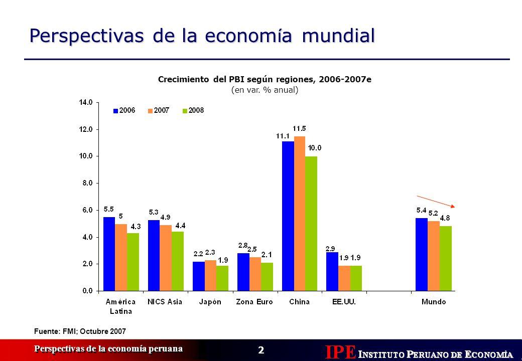 2 Perspectivas de la economía peruana Perspectivas de la econom í a mundial Fuente: FMI; Octubre 2007 Crecimiento del PBI según regiones, 2006-2007e (