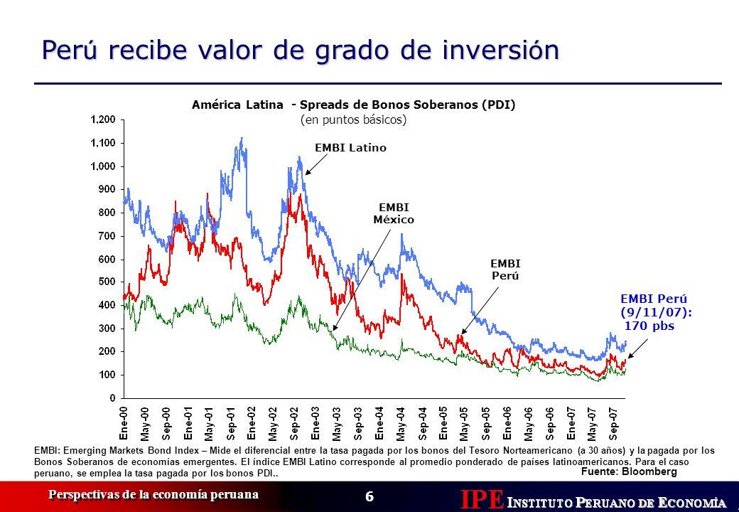 6 Perspectivas de la economía peruana EMBI: Emerging Markets Bond Index – Mide el diferencial entre la tasa pagada por los bonos del Tesoro Norteameri