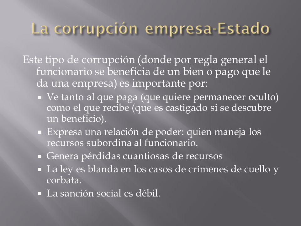 Este tipo de corrupción (donde por regla general el funcionario se beneficia de un bien o pago que le da una empresa) es importante por: Ve tanto al q