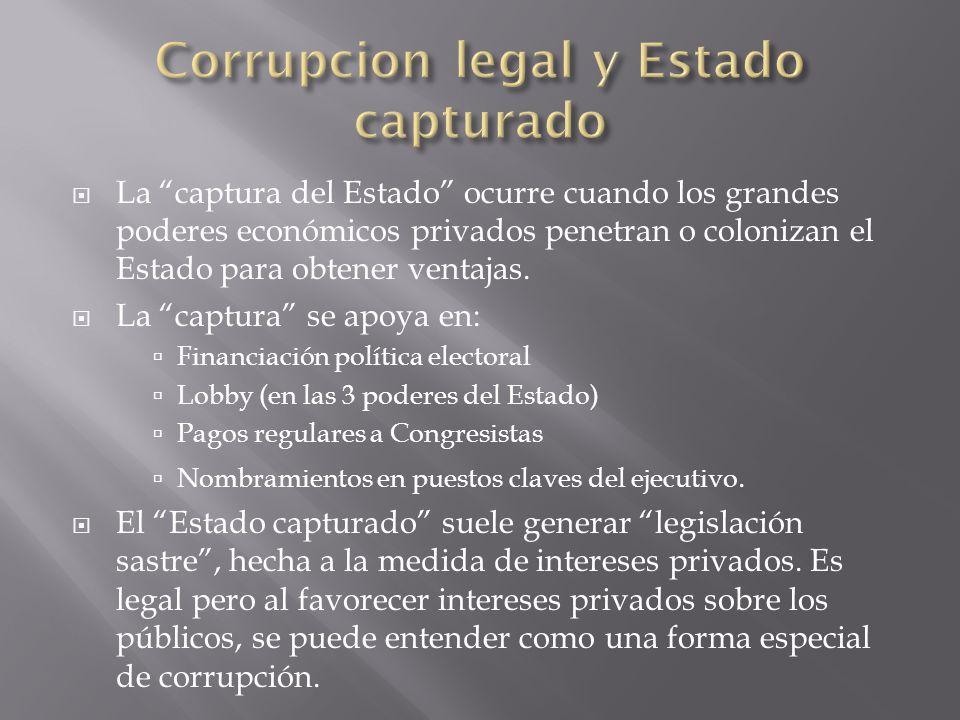 La captura del Estado ocurre cuando los grandes poderes económicos privados penetran o colonizan el Estado para obtener ventajas. La captura se apoya