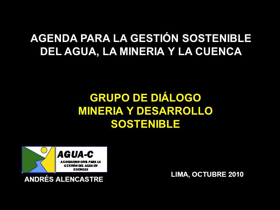AGENDA PARA LA GESTIÓN SOSTENIBLE DEL AGUA, LA MINERIA Y LA CUENCA GRUPO DE DIÁLOGO MINERIA Y DESARROLLO SOSTENIBLE LIMA, OCTUBRE 2010 ANDRÉS ALENCAST