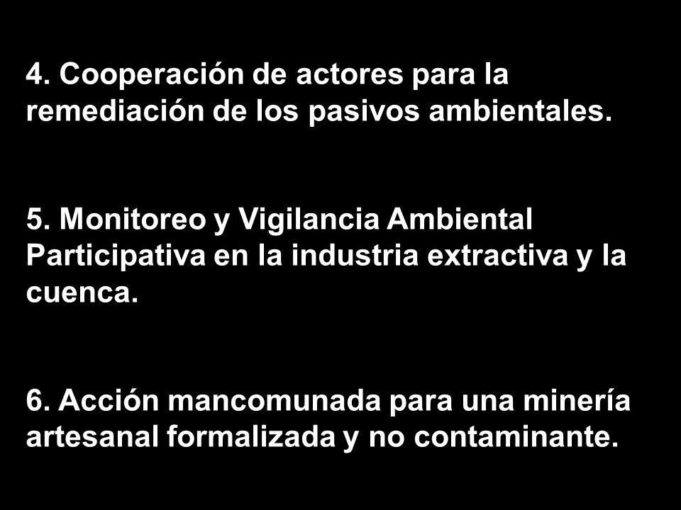 4. Cooperación de actores para la remediación de los pasivos ambientales. 5. Monitoreo y Vigilancia Ambiental Participativa en la industria extractiva