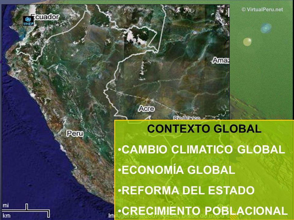 CONTEXTO GLOBAL CAMBIO CLIMATICO GLOBAL ECONOMÍA GLOBAL REFORMA DEL ESTADO CRECIMIENTO POBLACIONAL