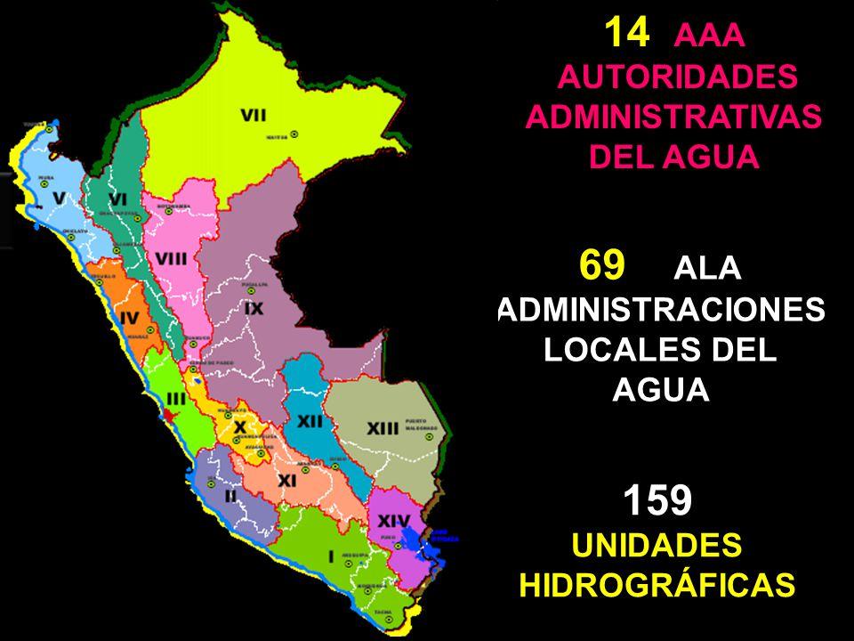 14 AAA AUTORIDADES ADMINISTRATIVAS DEL AGUA 69 ALA ADMINISTRACIONES LOCALES DEL AGUA 159 UNIDADES HIDROGRÁFICAS