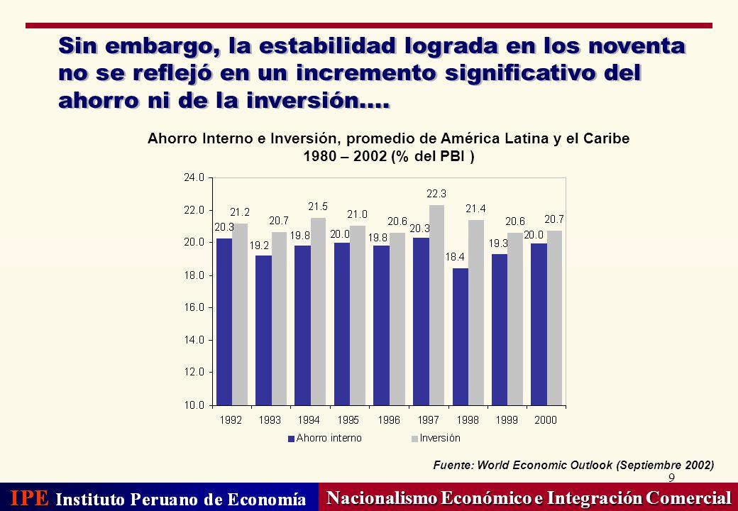 9 Sin embargo, la estabilidad lograda en los noventa no se reflejó en un incremento significativo del ahorro ni de la inversión.... Nacionalismo Econó
