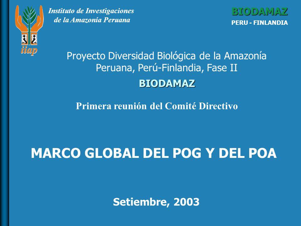 Instituto de Investigaciones de la Amazonía Peruana BIODAMAZ PERU - FINLANDIA BIODAMAZ Setiembre, 2003 Proyecto Diversidad Biológica de la Amazonía Peruana, Perú-Finlandia, Fase II MARCO GLOBAL DEL POG Y DEL POA Primera reunión del Comité Directivo