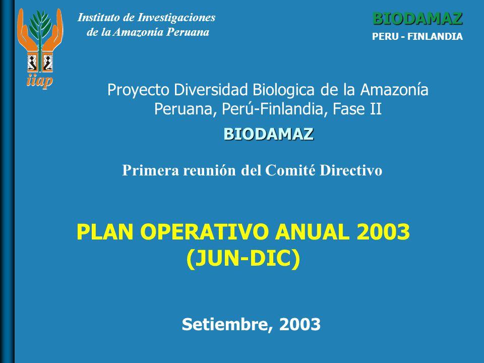 Instituto de Investigaciones de la Amazonía Peruana BIODAMAZ PERU - FINLANDIA BIODAMAZ Setiembre, 2003 Proyecto Diversidad Biologica de la Amazonía Peruana, Perú-Finlandia, Fase II PLAN OPERATIVO ANUAL 2003 (JUN-DIC) Primera reunión del Comité Directivo