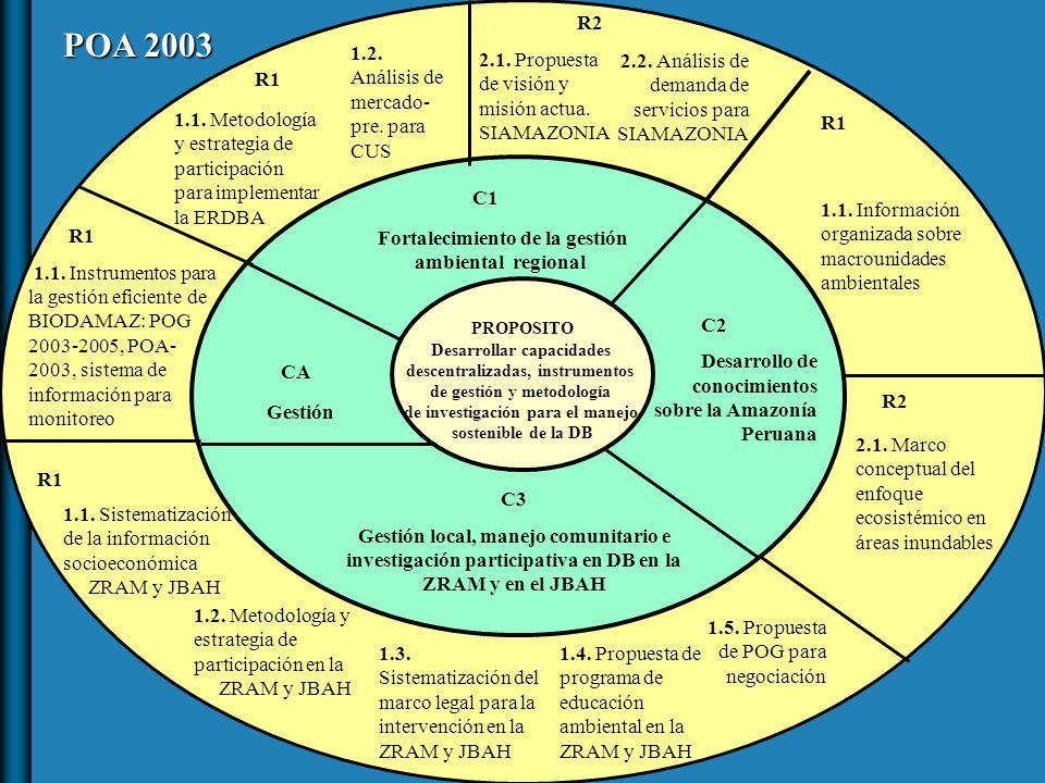 PROPOSITO Desarrollar capacidades descentralizadas, instrumentos de gestión y metodología de investigación para el manejo sostenible de la DB CA Gestión C1 Fortalecimiento de la gestión ambiental regional C2 Desarrollo de conocimientos sobre la Amazonía Peruana C3 Gestión local, manejo comunitario e investigación participativa en DB en la ZRAM y en el JBAH R1 1.1.