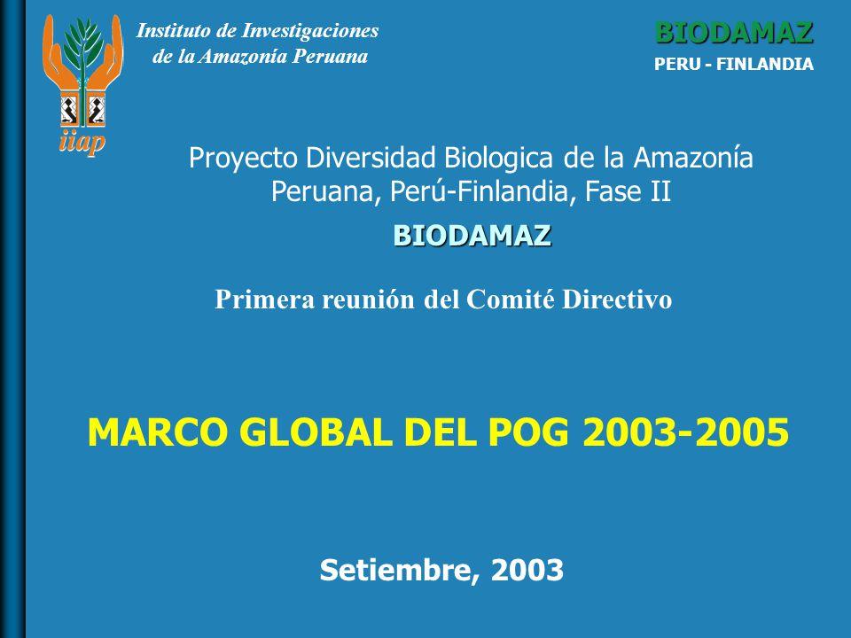 Instituto de Investigaciones de la Amazonía Peruana BIODAMAZ PERU - FINLANDIA BIODAMAZ Setiembre, 2003 Proyecto Diversidad Biologica de la Amazonía Peruana, Perú-Finlandia, Fase II MARCO GLOBAL DEL POG 2003-2005 Primera reunión del Comité Directivo