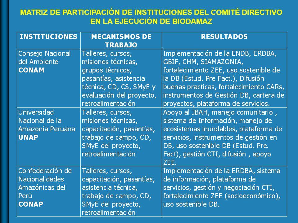 MATRIZ DE PARTICIPACIÓN DE INSTITUCIONES DEL COMITÉ DIRECTIVO EN LA EJECUCIÓN DE BIODAMAZ