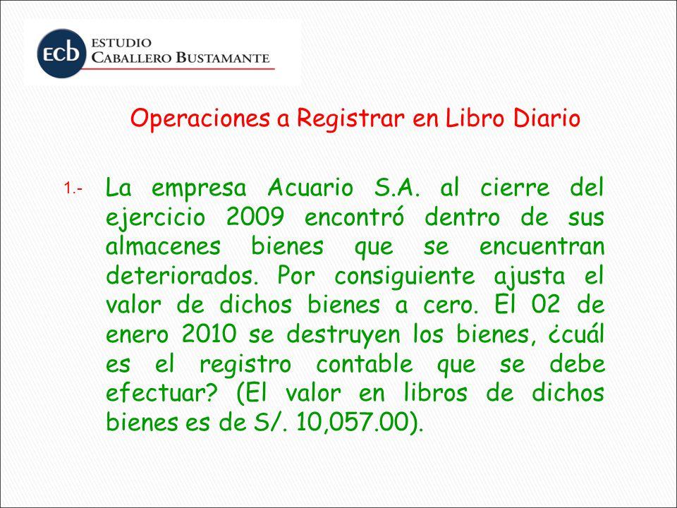 Operaciones a Registrar en Libro Diario La empresa Acuario S.A. al cierre del ejercicio 2009 encontró dentro de sus almacenes bienes que se encuentran