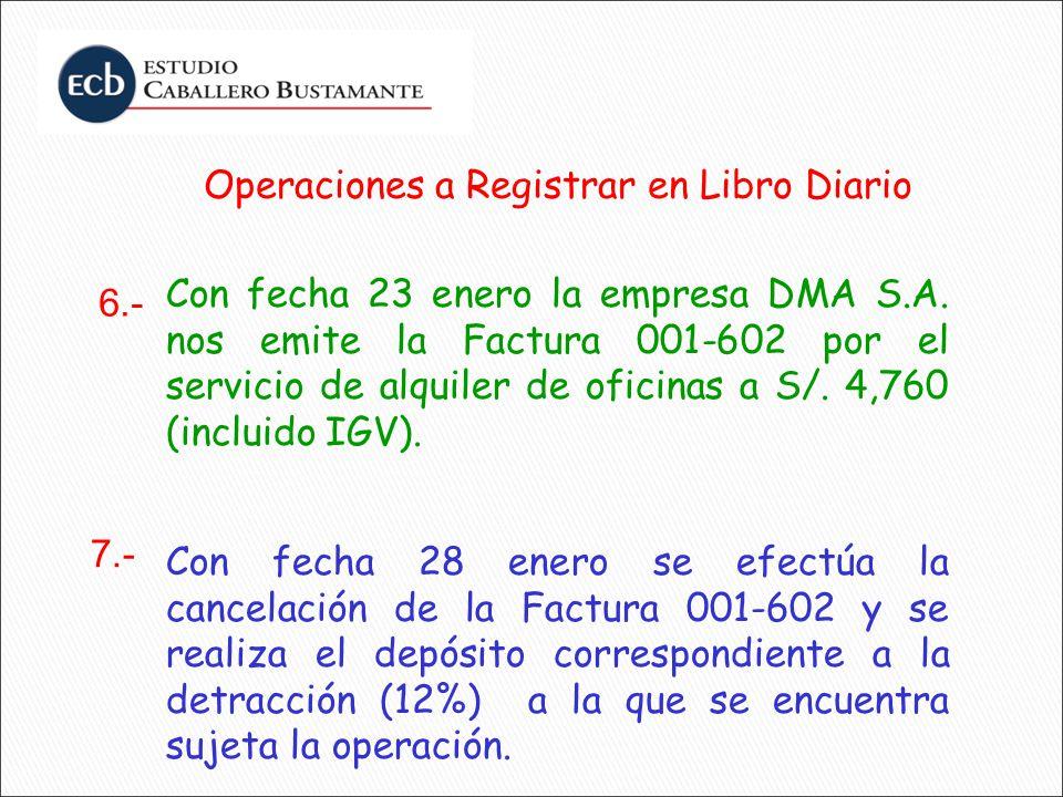 Operaciones a Registrar en Libro Diario Con fecha 23 enero la empresa DMA S.A. nos emite la Factura 001-602 por el servicio de alquiler de oficinas a