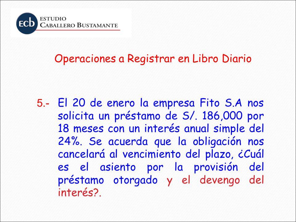 Operaciones a Registrar en Libro Diario El 20 de enero la empresa Fito S.A nos solicita un préstamo de S/. 186,000 por 18 meses con un interés anual s