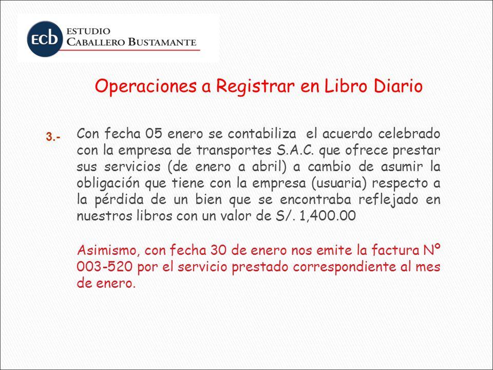 Operaciones a Registrar en Libro Diario Con fecha 05 enero se contabiliza el acuerdo celebrado con la empresa de transportes S.A.C. que ofrece prestar