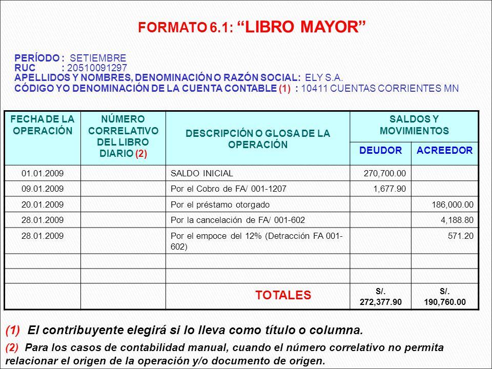 FECHA DE LA OPERACIÓN NÚMERO CORRELATIVO DEL LIBRO DIARIO (2) DESCRIPCIÓN O GLOSA DE LA OPERACIÓN SALDOS Y MOVIMIENTOS DEUDORACREEDOR 01.01.2009SALDO