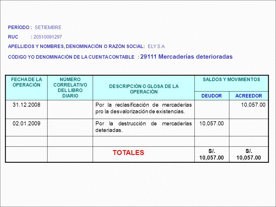 TOTALES FECHA DE LA OPERACIÓN NÚMERO CORRELATIVO DEL LIBRO DIARIO DESCRIPCIÓN O GLOSA DE LA OPERACIÓN SALDOS Y MOVIMIENTOS DEUDORACREEDOR 31.12.2008Po