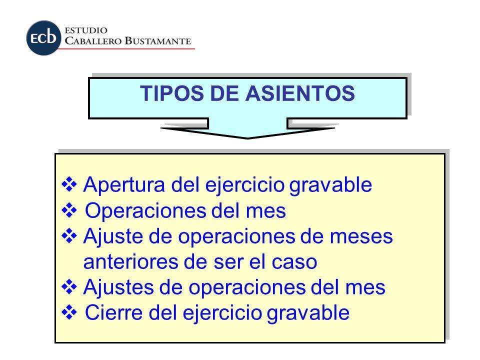 TIPOS DE ASIENTOS Apertura del ejercicio gravable Operaciones del mes Ajuste de operaciones de meses anteriores de ser el caso Ajustes de operaciones