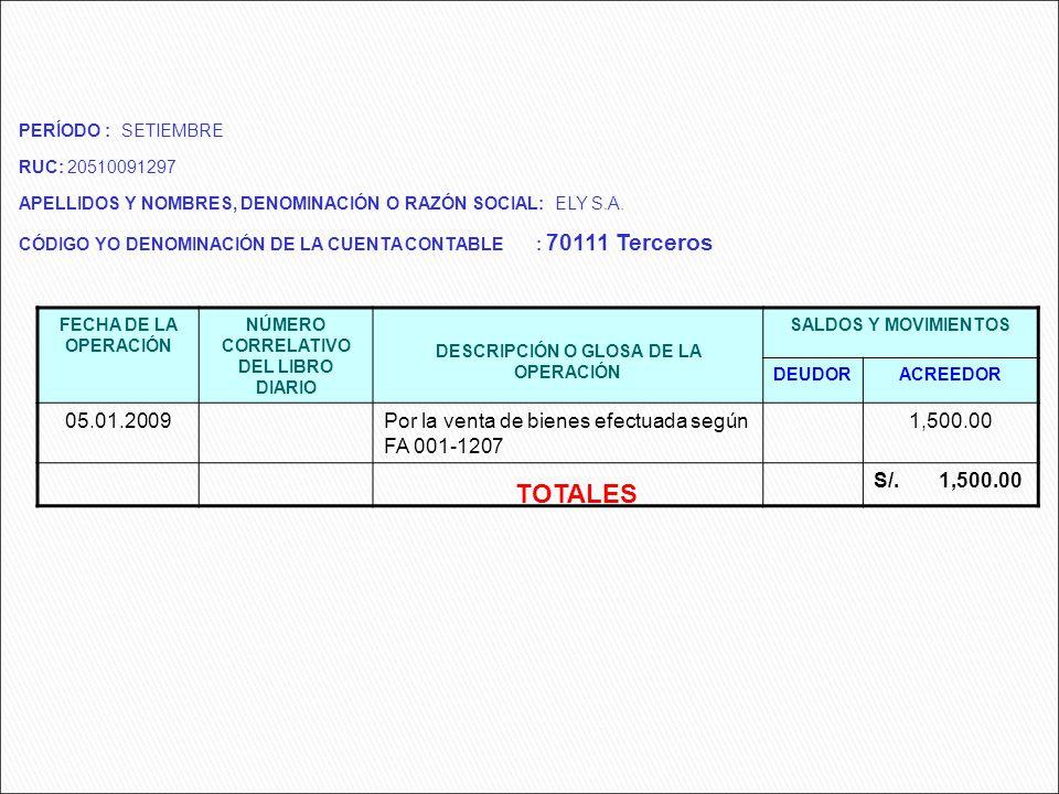 FECHA DE LA OPERACIÓN NÚMERO CORRELATIVO DEL LIBRO DIARIO DESCRIPCIÓN O GLOSA DE LA OPERACIÓN SALDOS Y MOVIMIENTOS DEUDORACREEDOR 05.01.2009Por la ven