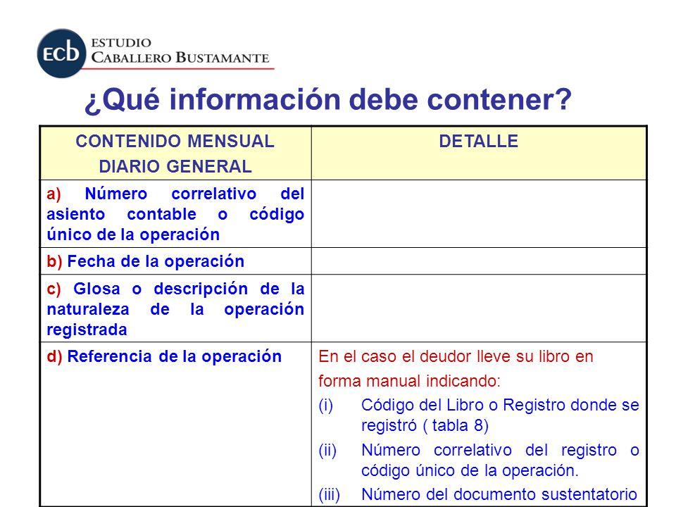 ¿Qué información debe contener? CONTENIDO MENSUAL DIARIO GENERAL DETALLE a) Número correlativo del asiento contable o código único de la operación b)