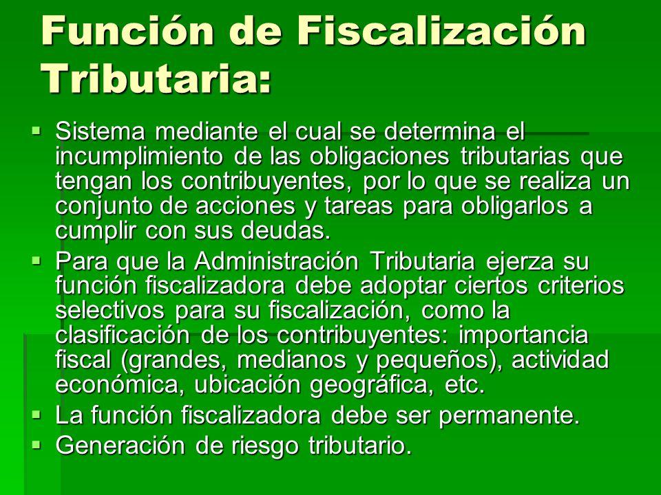 Función de Fiscalización Tributaria: Sistema mediante el cual se determina el incumplimiento de las obligaciones tributarias que tengan los contribuye
