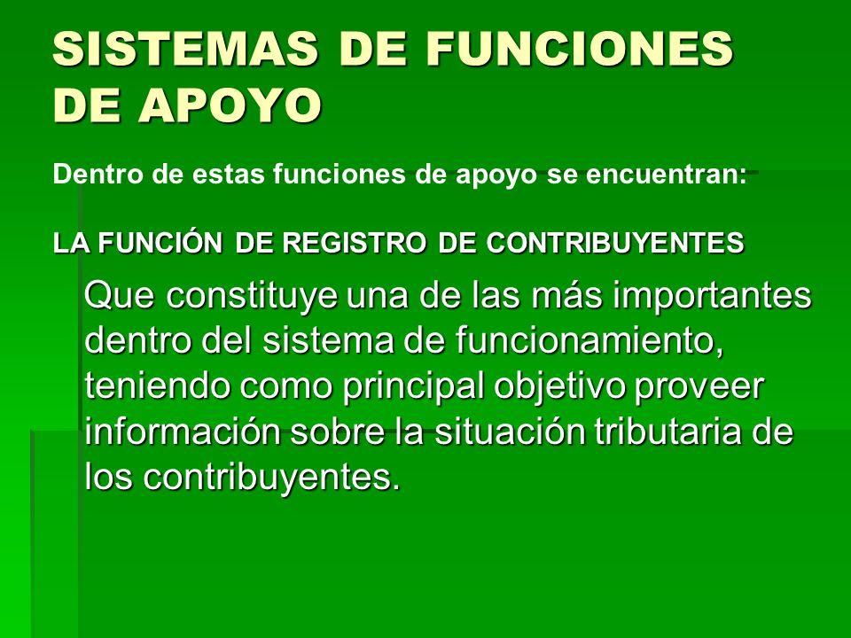 SISTEMAS DE FUNCIONES DE APOYO LA FUNCIÓN DE REGISTRO DE CONTRIBUYENTES Que constituye una de las más importantes dentro del sistema de funcionamiento