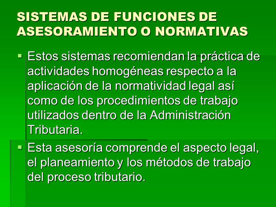 SISTEMAS DE FUNCIONES DE ASESORAMIENTO O NORMATIVAS Estos sistemas recomiendan la práctica de actividades homogéneas respecto a la aplicación de la no