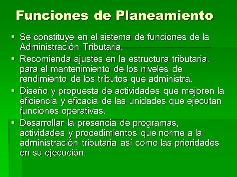 Funciones de Planeamiento Se constituye en el sistema de funciones de la Administración Tributaria. Se constituye en el sistema de funciones de la Adm