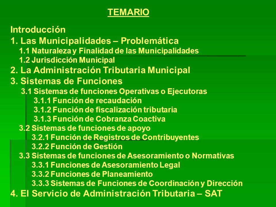 Introducción 1. Las Municipalidades – Problemática 1.1 Naturaleza y Finalidad de las Municipalidades 1.2 Jurisdicción Municipal 2. La Administración T