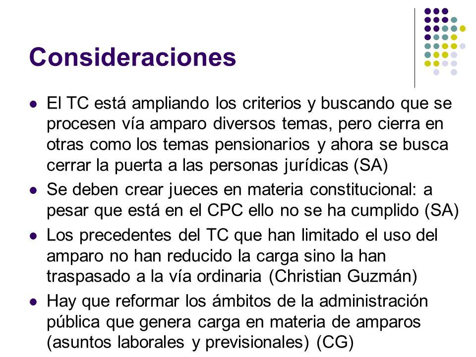 Consideraciones El TC está ampliando los criterios y buscando que se procesen vía amparo diversos temas, pero cierra en otras como los temas pensionar