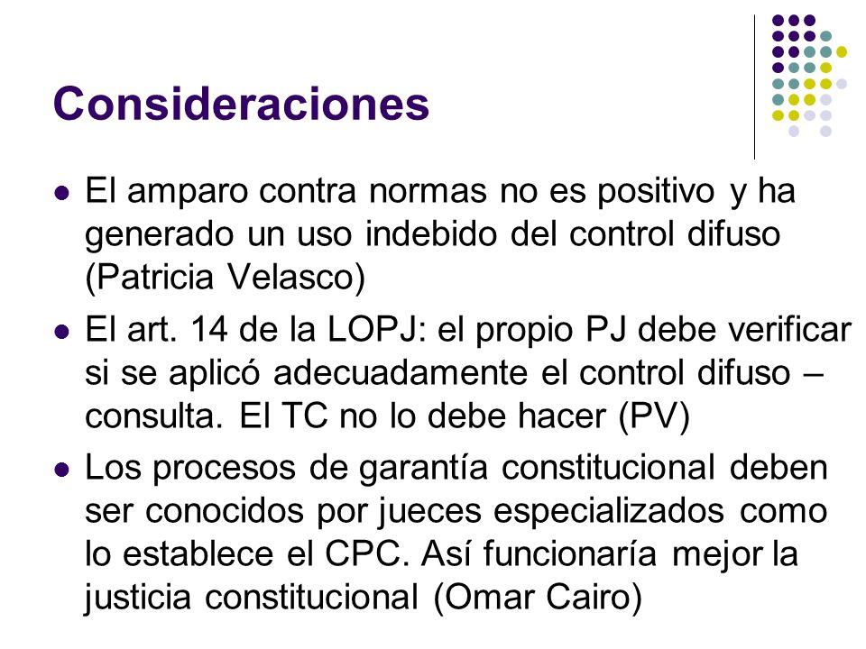 Consideraciones El amparo contra normas no es positivo y ha generado un uso indebido del control difuso (Patricia Velasco) El art. 14 de la LOPJ: el p
