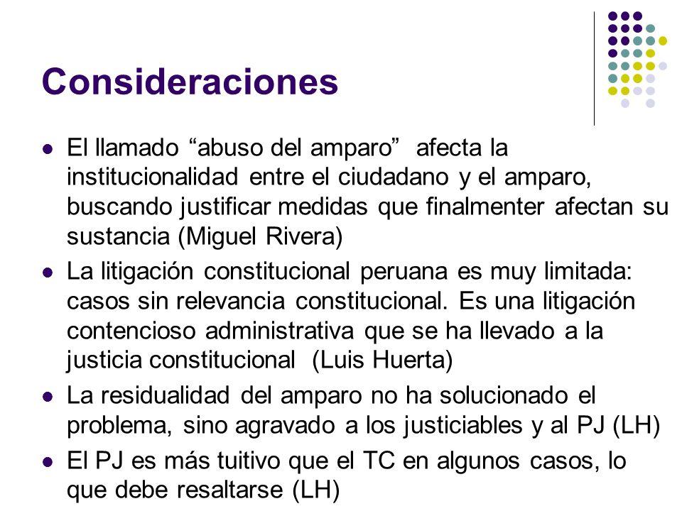 Consideraciones El llamado abuso del amparo afecta la institucionalidad entre el ciudadano y el amparo, buscando justificar medidas que finalmenter afectan su sustancia (Miguel Rivera) La litigación constitucional peruana es muy limitada: casos sin relevancia constitucional.