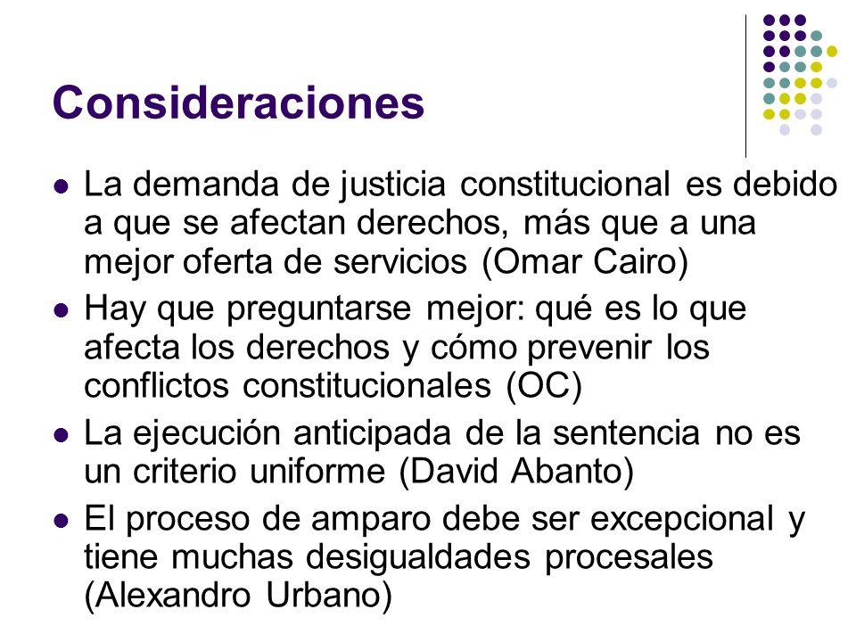Consideraciones La demanda de justicia constitucional es debido a que se afectan derechos, más que a una mejor oferta de servicios (Omar Cairo) Hay qu