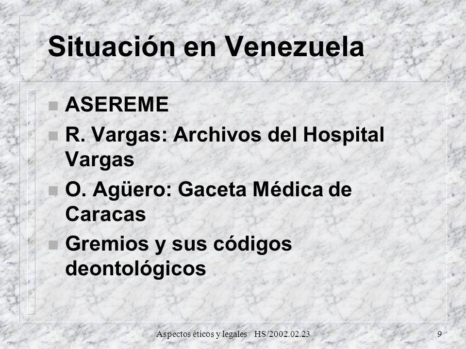 Aspectos éticos y legales HS/2002.02.239 Situación en Venezuela n ASEREME n R. Vargas: Archivos del Hospital Vargas n O. Agüero: Gaceta Médica de Cara