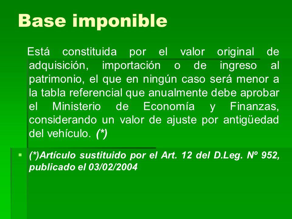 Base imponible Está constituida por el valor original de adquisición, importación o de ingreso al patrimonio, el que en ningún caso será menor a la ta