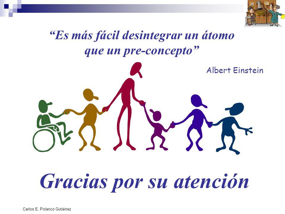 Carlos E. Polanco Gutiérrez Es más fácil desintegrar un átomo que un pre-concepto Albert Einstein Gracias por su atención