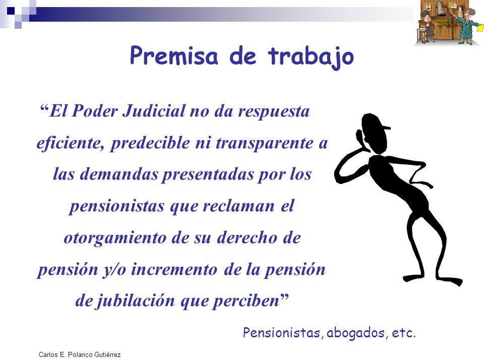 Carlos E. Polanco Gutiérrez Premisa de trabajo El Poder Judicial no da respuesta eficiente, predecible ni transparente a las demandas presentadas por