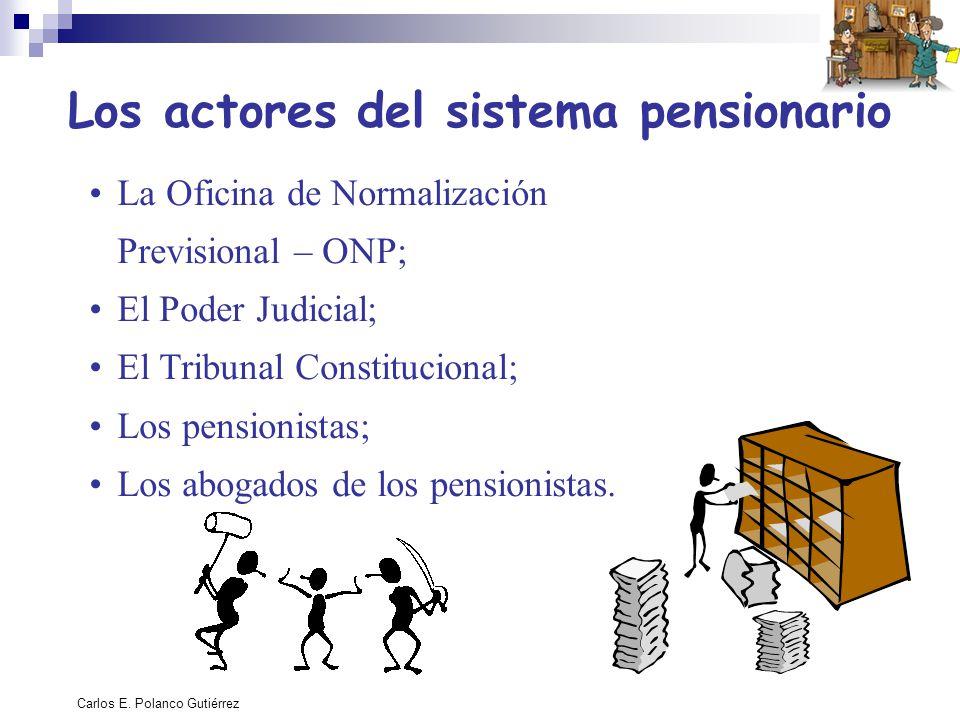 Carlos E. Polanco Gutiérrez Los actores del sistema pensionario La Oficina de Normalización Previsional – ONP; El Poder Judicial; El Tribunal Constitu