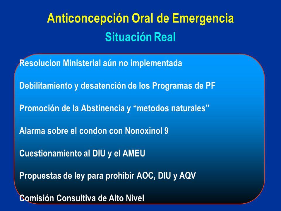 Situación Real Anticoncepción Oral de Emergencia Resolucion Ministerial aún no implementada Debilitamiento y desatención de los Programas de PF Promoc