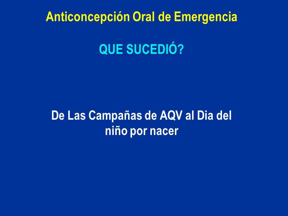 Anticoncepción Oral de Emergencia QUE SUCEDIÓ? De Las Campañas de AQV al Dia del niño por nacer