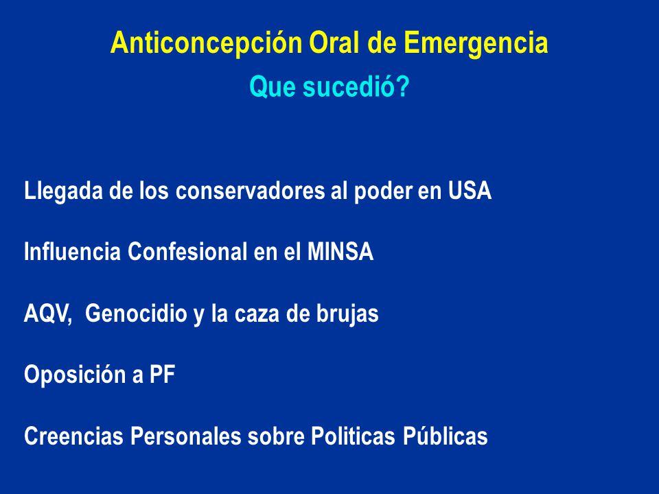 Que sucedió? Anticoncepción Oral de Emergencia Llegada de los conservadores al poder en USA Influencia Confesional en el MINSA AQV, Genocidio y la caz